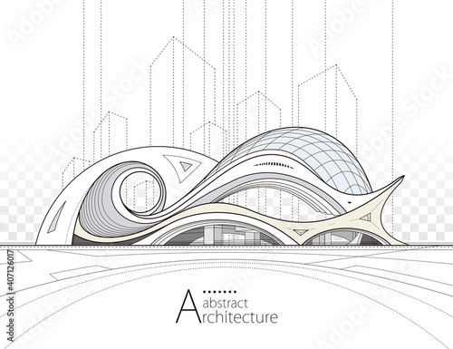 Architecture building construction perspective design, abstract modern urban landscape background Poster Mural XXL