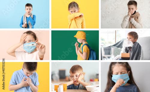 Obraz na plátně Collage of little children ill with flu