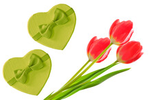 Valentine's Day. Bouquet Of Bright Red Tulips And Two Green Heart Shaped Gift Boxes On White Isolated Background