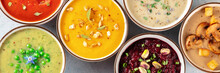 Vegan Soup Panoramic Banner. A Variety Of Vegetable Soups, Shot From Above, Flat Lay