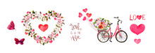 Pink Set For Valentines Day - Bicycle With Flowers, Hearts, Butterflies And Text Love Is In The Air , Floral Frame With Cherry, Apple Flowers . Watercolor For Valentine Day