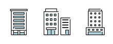 ビルのイラストのセット アイコン 高層ビル 建物 ビル群 ビジネス ホテル マンション