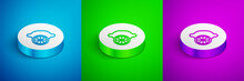 Isometric Line Lemon Icon Isolated On Blue,green And Purple Background. White Circle Button. Vector.