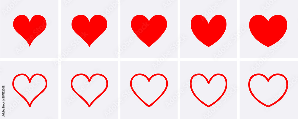 Fototapeta Red heart Icons set.