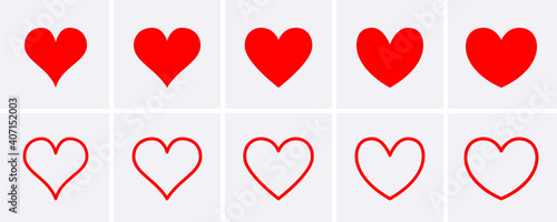 Fototapeta Red heart Icons set. obraz