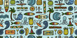 Tropical Lifestyle background. Tribal elements. Seamless Pattern for your design