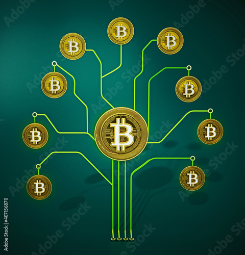 Fictitious crypto coins hanging on PCB tree branchs. 3D illustration © Destina