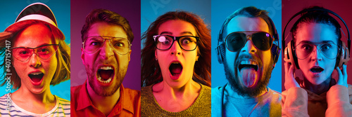 Collage of portraits of young emotional people on multicolored background in neon. Concept of human emotions, facial expression, sales. Astonished screaming, shocked, music listening. Flyer for ad