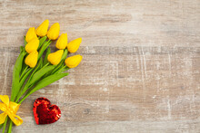 Yellow Tulips With Red Heart For Valentines Day