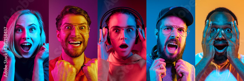 Collage of portraits of young emotional people on multicolored background in neon. Concept of human emotions, facial expression, sales. Listening to music, delighted, winner, shocked. Flyer for ad