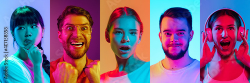 Collage of portraits of young emotional people on multicolored background in neon. Concept of emotions, facial expression, sales. Listening to music, delighted, thoughtful, winner. Flyer for ad, offer