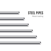 Metal Pipe. Steel Tubes Banner. Vector Illustration Isolated On White Background