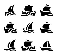 Set Icons Of Historic Sailboats In Sea