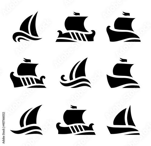 set icons of historic sailboats in sea Tapéta, Fotótapéta