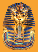 Egyptian Pharaoh Tutankhamun's Burial Mask On Yellow Background
