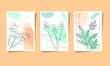 Floral flower green abstract design flowers card illustration blue nature frame