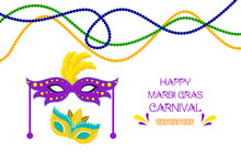 Mardi Gras Carnival Party Design With Colorful Masks Beads. Fleur-de-Lis Lily Symbol For Masquerade Carnival. American New Orleans Fat Tuesday Celebration Poster Greeting Card. Australian Mardi Gras