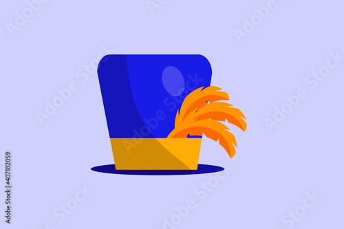 Canvas-taulu mardi gras carnival party design with cartoon colorful hat with feathers