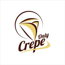 Crepe Logo Design Food Illustration Label Template Sweet Pancake Dessert And Snack Idea