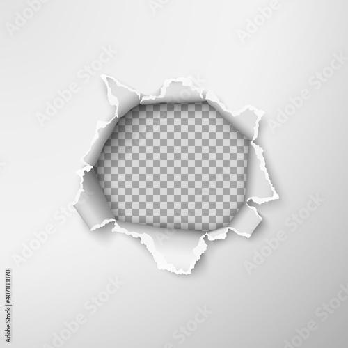 Vászonkép Hole in empty paper sheet