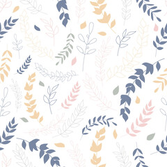 Seamless pattern with colorful leaves . Winter atmosphere. Cute kids nursery seamless pattern repeat. Design in boho style for printing on textile or paper. Scandinavian print.