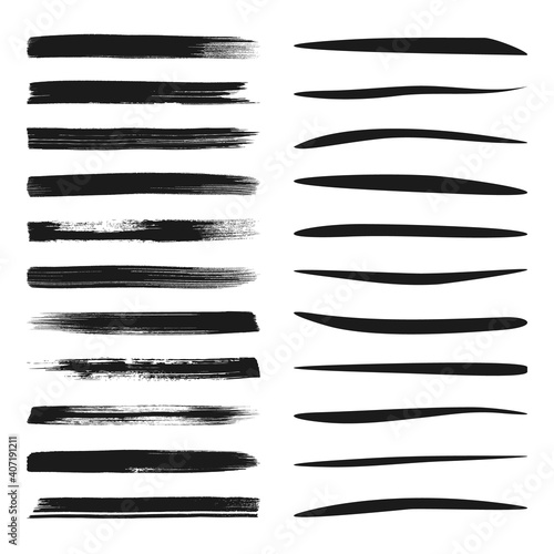 Set of black vector brush and marker strokes #407191211