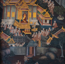 Ancient Famous Thai Mural Wall Paintings Attached At Building Along Inner Wall Around Chapel Portrays Story Of Buddhist History At Wat Pho Temple, Bangkok, Thailand.