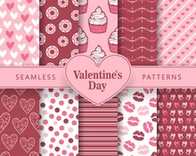 Ten Seamless Love Patterns. Romantic Backgrounds For Valentines Or Wedding Day. Endless Texture For Wallpaper, Web Page, Wrapping Paper. Scrapbooking, Print, Gift Wrap