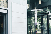White Blank Signboards On The Marble Wall Of A Modern Business Center, Mockup