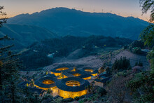 The Night View Of Tulous, A Historic Chinese Architecture In Fujian Province, China.