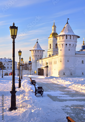 Tobolsk Kremlin in winter. Gostiny Dvor, bell tower of St. Sophia's Assumption Cathedral, Old Russian architecture of the XVII century in the first capital of Siberia