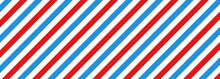 Barber Shop Concept Pattern. Barbershop Background. Vector Red, White And Blue Diagonal Lines Seamless Texture. Vector On Isolated Background. EPS 10