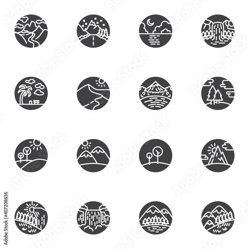 Obraz na plátně Nature landscape vector icons set, modern solid symbol collection, filled style pictogram pack