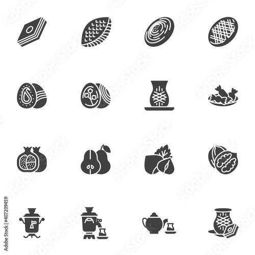 Obraz na plátně Novruz holiday vector icons set, modern solid symbol collection, filled style pictogram pack