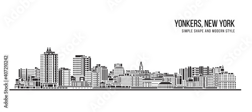 Fototapety, obrazy: Cityscape Building Abstract Simple shape and modern style art Vector design -  Yonkers City, New York