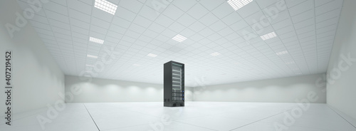 Obraz Einzelner Schrank mit Server im Serverraum - fototapety do salonu