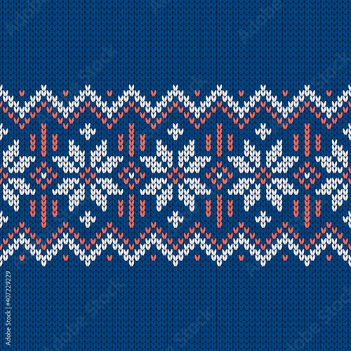 Canvas-taulu Norwegian native style sweater, ornament with snowflakes