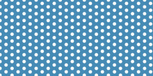 Seamless White Polka Dots Abstract Pattern Design On Blue (Wedgewood) Background Color. Polka-dots Cute Design Pattern.