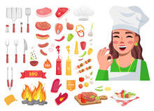 Food Collection, Cook Woman Show Okay Gesture, Good Delicious Yummy Meal, Tools For Kitchen, Sorts Of Meat, Vegetables Pieces, Sauces, Cooking Grill Bbq With Campfire, Prepared Dish, Cartoon Icons