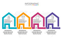 Infographic House Templates With 4 Options For Business Vector Illustration.