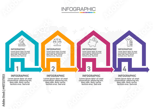 Fotografija Infographic house templates with 4 options for Business Vector Illustration