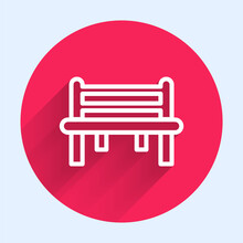 White Line Romantic Bench Icon Isolated With Long Shadow. Red Circle Button. Vector.
