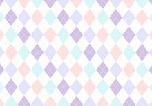 【背景素材】アーガイルチェック柄18 5色(水色&薄紫&紫&ピンク&黄色)