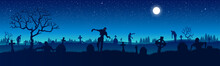 Panorama Of The Zombie Apocalypse On The Background Of The Cemetery. Silhouettes Of Scary Zombies Walking Through The Cemetery. Starry Sky. Vector Illustration For Halloween.