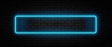 Neon Sign In Rectangle Shape. Bright Neon Light, Illuminated Rectangle Frame. Glowing Blue Neon Tube On Dark Background. Signboard Or Banner Template In 80s And 90s Style