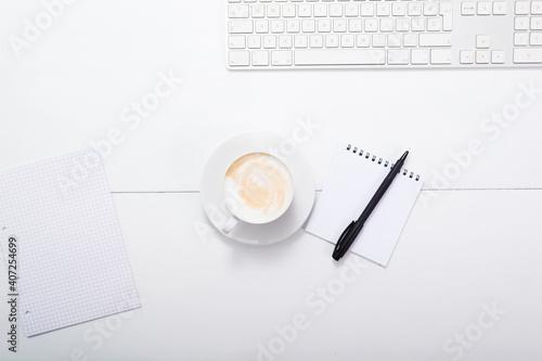 Fotografie, Tablou office desk, cappuccino latte , keypad, reminder, directly above