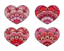 Vector Hearts Set. Decorative Mandala Ornament. Intricate Valentines Collection