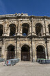 Ancient Nimes Roman Amphitheatre. Nimes Arena (70 CE) - one of the best-preserved amphitheaters in the world. Nimes, Occitanie region of southern France.