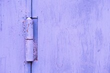 Rusty Door Hinge Painted With Fresh Paint Over Rust, Changed Color, Background