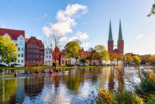 Fotomural View over the Muehlenteich pond to the buildings and Cathedral of Lübeck at the